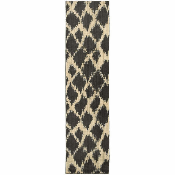 Woven - Marrakesh Ivory Brown Tribal Ikat Transitional Rug