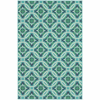 Meridian Blue Green Floral  Outdoor Rug - Free Shipping