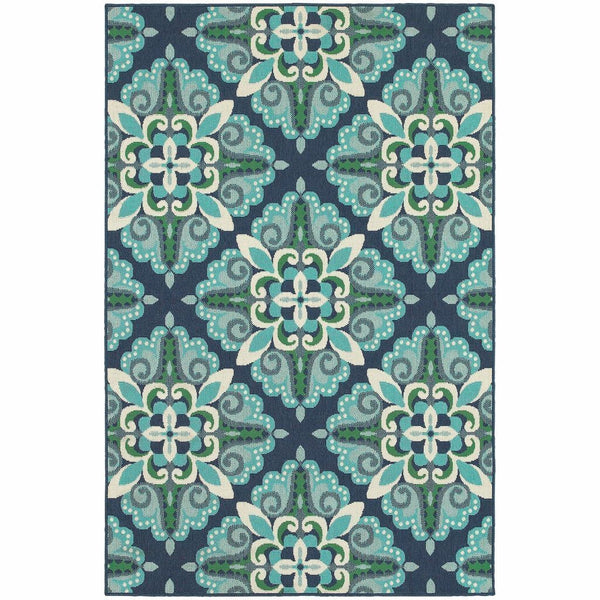 Meridian Blue Green Medallion  Outdoor Rug - Free Shipping