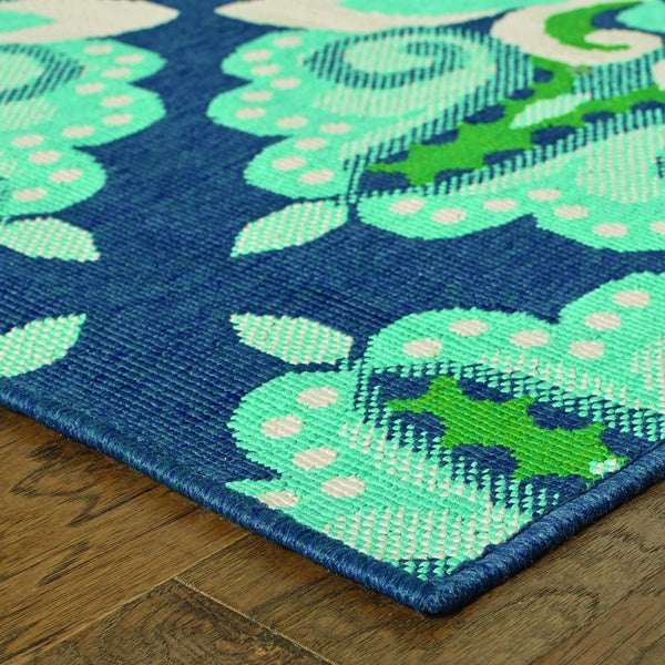 Woven - Meridian Blue Green Medallion  Outdoor Rug