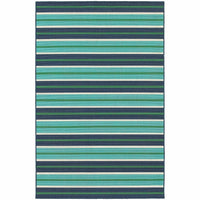 Meridian Blue Green Stripe  Outdoor Rug - Free Shipping
