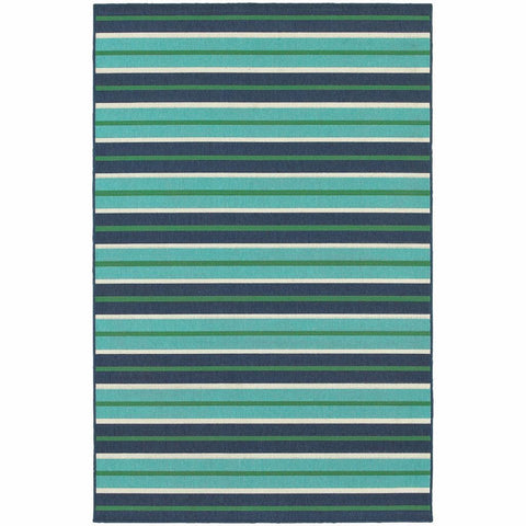 Meridian Blue Green Stripe  Outdoor Rug