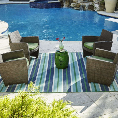 Oriental Weavers Meridian Blue Green Stripe  Outdoor Rug