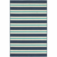 Meridian Blue Ivory Stripe  Outdoor Rug - Free Shipping