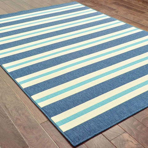 Oriental Weavers Meridian Blue Ivory Stripe  Outdoor Rug