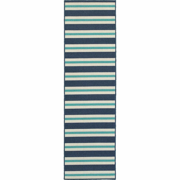 Woven - Meridian Blue Ivory Stripe  Outdoor Rug