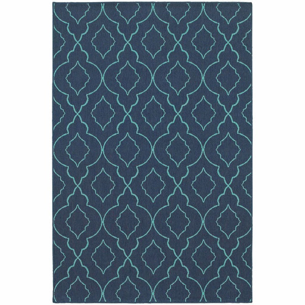 Meridian Navy Blue Lattice  Outdoor Rug - Free Shipping