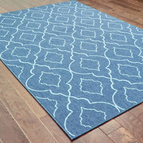 Oriental Weavers Meridian Navy Blue Lattice  Outdoor Rug