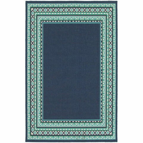 Oriental Weavers Meridian Navy Green Border  Transitional Rug