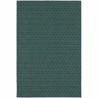 Meridian Navy Green Geometric  Outdoor Rug - Free Shipping