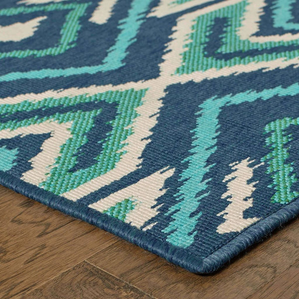 Woven - Meridian Navy Green Geometric  Outdoor Rug