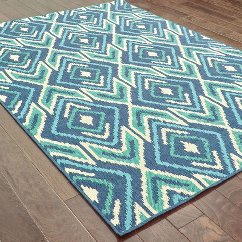 Oriental Weavers Meridian Navy Green Geometric  Outdoor Rug
