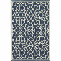 Meridian Navy Ivory Geometric  Outdoor Rug - Free Shipping