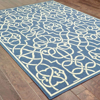 Woven - Meridian Navy Ivory Geometric  Outdoor Rug