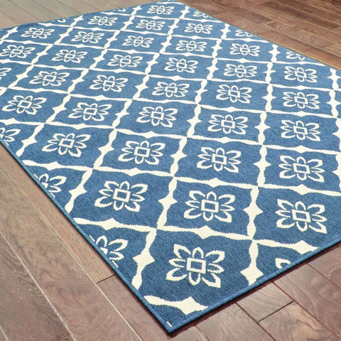 Oriental Weavers Meridian Navy Ivory Lattice  Outdoor Rug