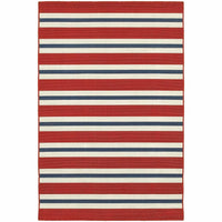 Meridian Red Blue Stripe  Outdoor Rug - Free Shipping