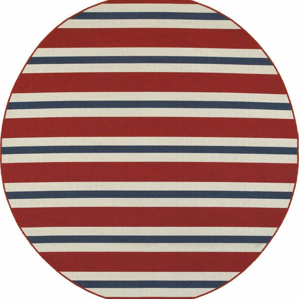 Woven - Meridian Red Blue Stripe  Outdoor Rug