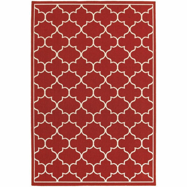 Meridian Red Ivory Lattice  Outdoor Rug - Free Shipping