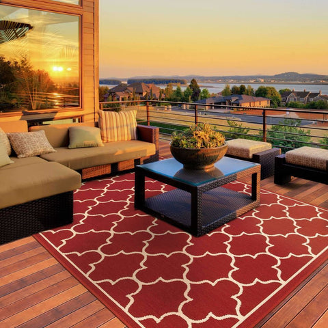 Oriental Weavers Meridian Red Ivory Lattice  Outdoor Rug