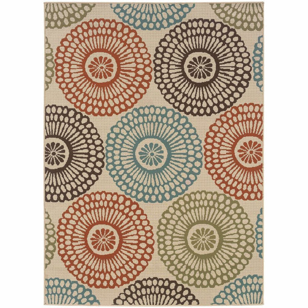 Montego Beige Blue Floral  Outdoor Rug - Free Shipping