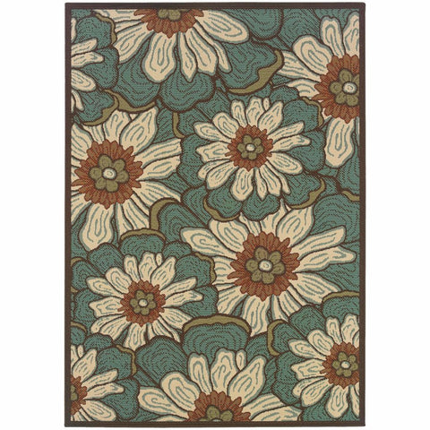 Montego Blue Brown Floral  Outdoor Rug