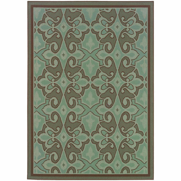 Montego Blue Brown Oriental Persian Outdoor Rug - Free Shipping