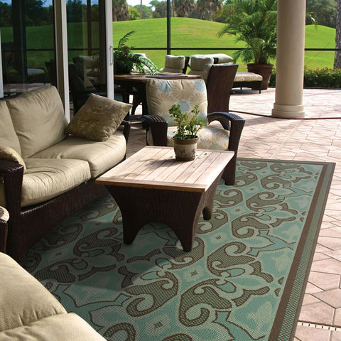 Oriental Weavers Montego Blue Brown Oriental Persian Outdoor Rug
