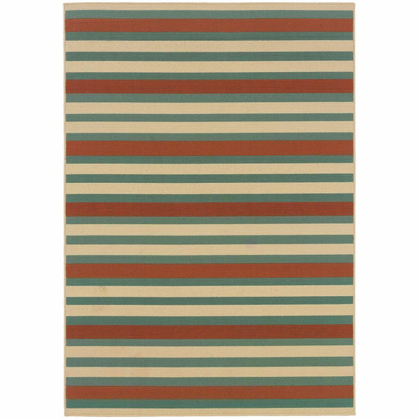 Montego Blue Ivory Stripes  Outdoor Rug - Free Shipping