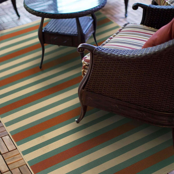 Woven - Montego Blue Ivory Stripes  Outdoor Rug