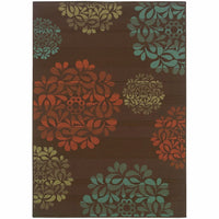 Montego Brown Blue Floral  Outdoor Rug - Free Shipping