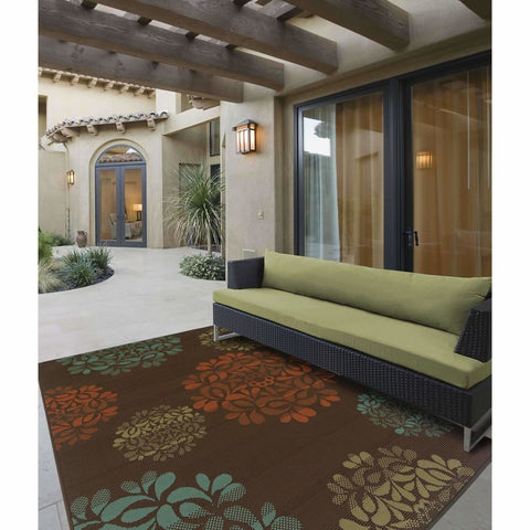 Oriental Weavers Montego Brown Blue Floral  Outdoor Rug
