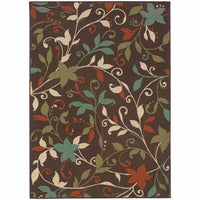 Montego Brown Green Floral  Outdoor Rug - Free Shipping