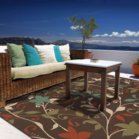 Oriental Weavers Montego Brown Green Floral  Outdoor Rug
