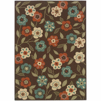 Montego Brown Ivory Floral  Outdoor Rug - Free Shipping
