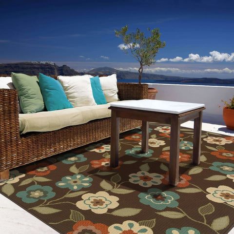 Oriental Weavers Montego Brown Ivory Floral  Outdoor Rug