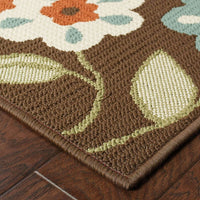 Woven - Montego Brown Ivory Floral  Outdoor Rug