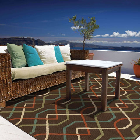 Oriental Weavers Montego Brown Ivory Geometric Lattice Outdoor Rug