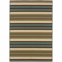 Montego Green Blue Stripes  Outdoor Rug - Free Shipping