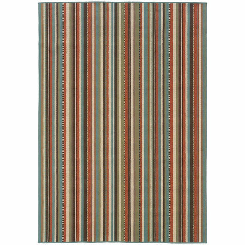 Oriental Weavers Montego Green Blue Stripes  Outdoor Rug