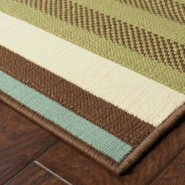 Woven - Montego Green Blue Stripes  Outdoor Rug