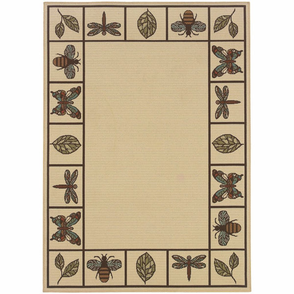 Montego Ivory Brown Botanical  Outdoor Rug - Free Shipping