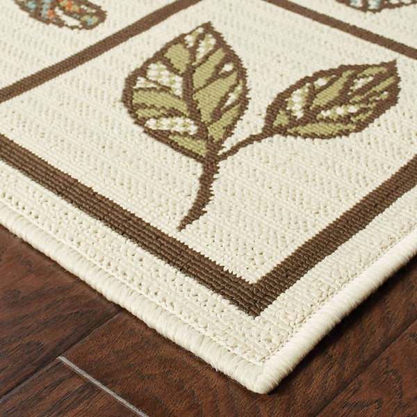 Woven - Montego Ivory Brown Botanical  Outdoor Rug