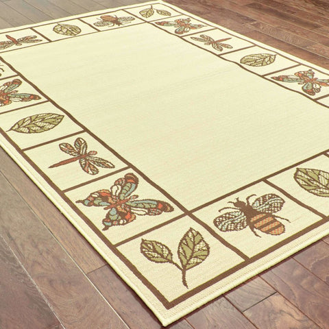 Oriental Weavers Montego Ivory Brown Botanical  Outdoor Rug