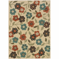 Montego Ivory Brown Floral  Outdoor Rug - Free Shipping