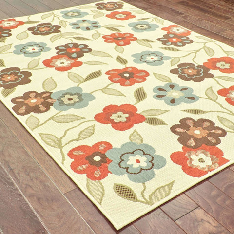 Oriental Weavers Montego Ivory Brown Floral  Outdoor Rug