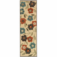 Woven - Montego Ivory Brown Floral  Outdoor Rug