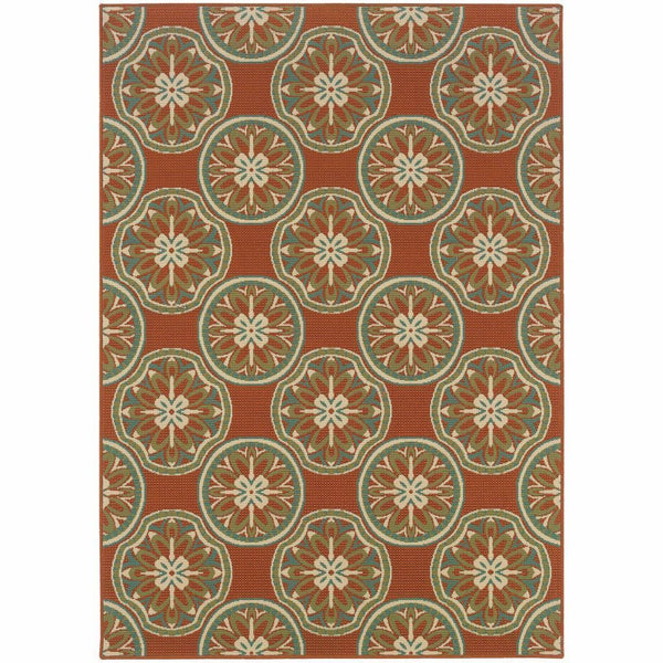 Montego Orange Ivory Floral  Outdoor Rug - Free Shipping