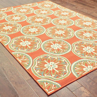 Woven - Montego Orange Ivory Floral  Outdoor Rug