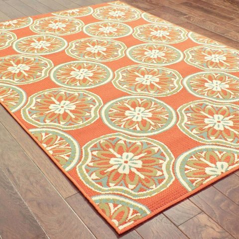Oriental Weavers Montego Orange Ivory Floral  Outdoor Rug