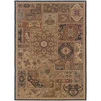 Nadira Beige Black Geometric Patchwork Traditional Rug - Free Shipping